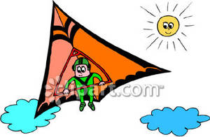 Hang Glider Flying In the Sky Royalty Free Clipart Picture.