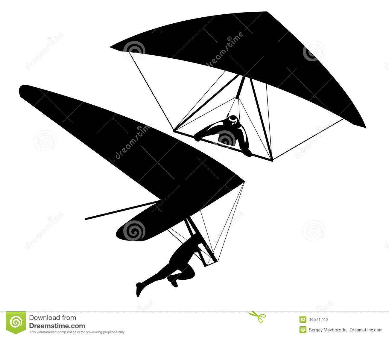 Two Hang Gliders Stock Photography.