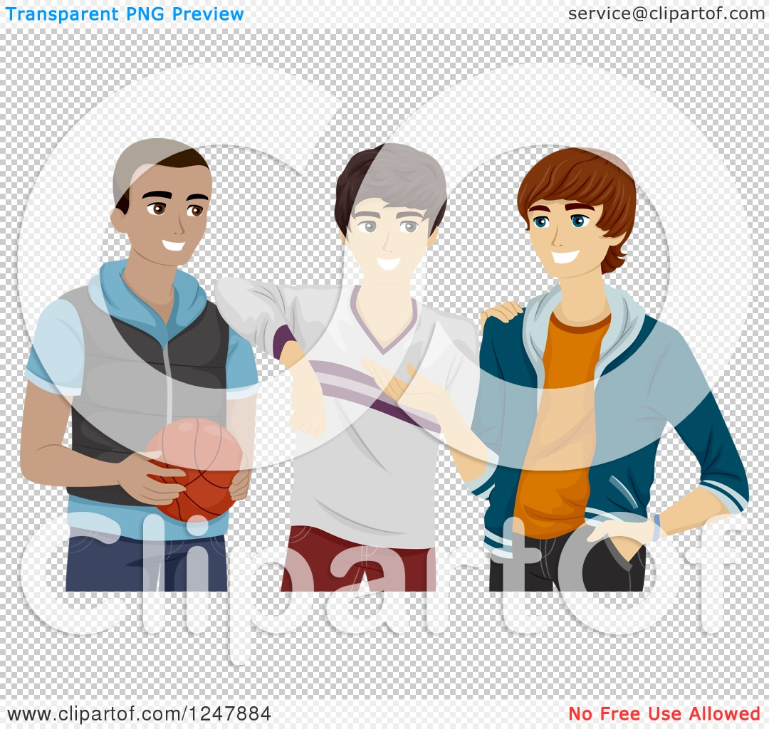Clipart of a Teenage Guys Hanging out with a Basketball.