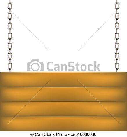 Vectors of Wooden sign board hanging on chain on white background.
