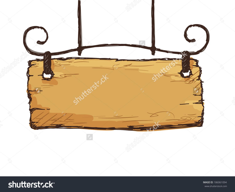 Vector Sketch Retro Sign Board Wooden Stock Vector 186061094.