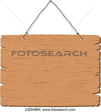 Clipart of Wooden hanging sign k8913105.