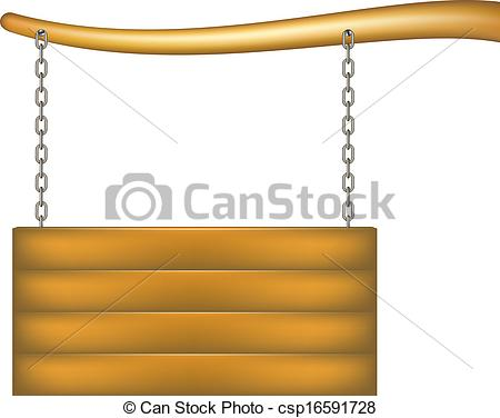 Vector Illustration of Wooden sign board with chain hanging from.