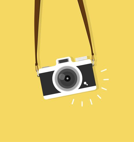 hanging vintage camera vector flat style.