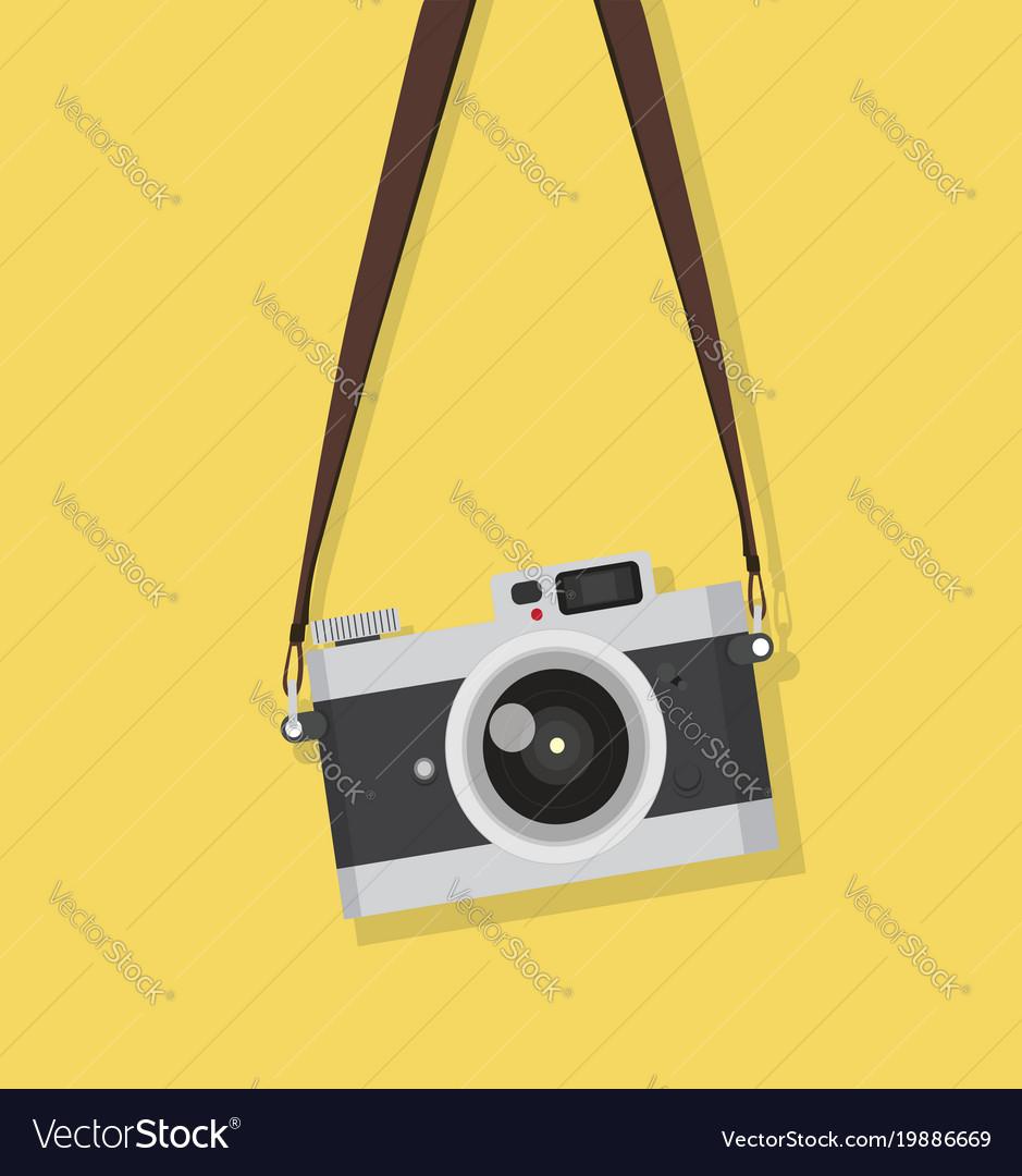 Hanging vintage camera.