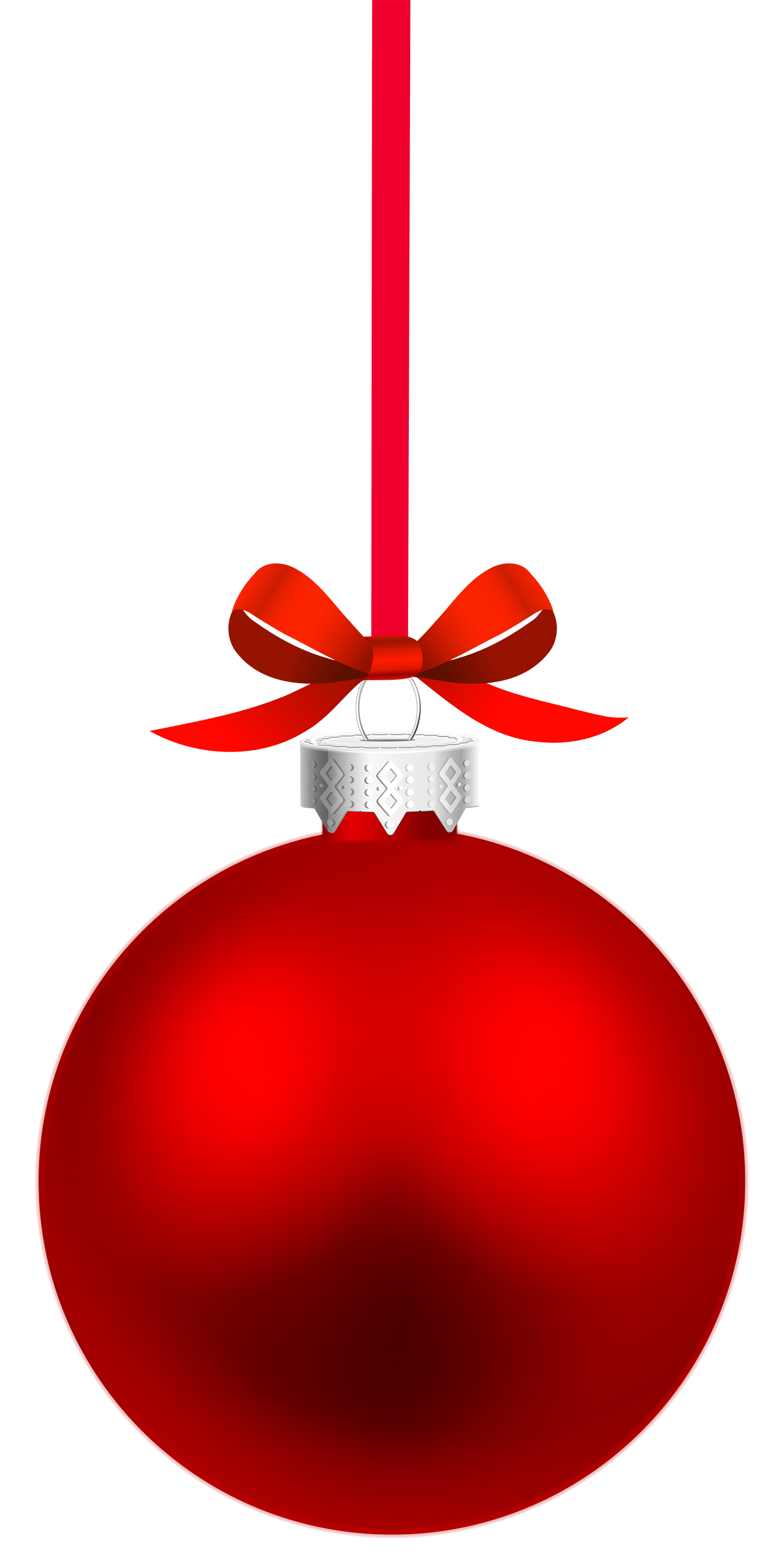 Red Hanging Christmas Ball PNG Clipart.
