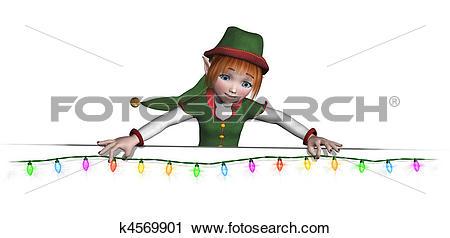 Clipart of Santa's Elf is Hanging Christmas Lights k4569901.
