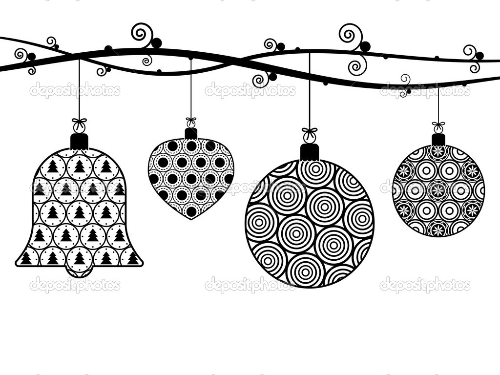 hanging christmas ornament clipart black and white - Clipground