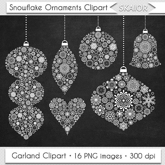Items similar to Christmas Ornaments Clipart Christmas Clipart.