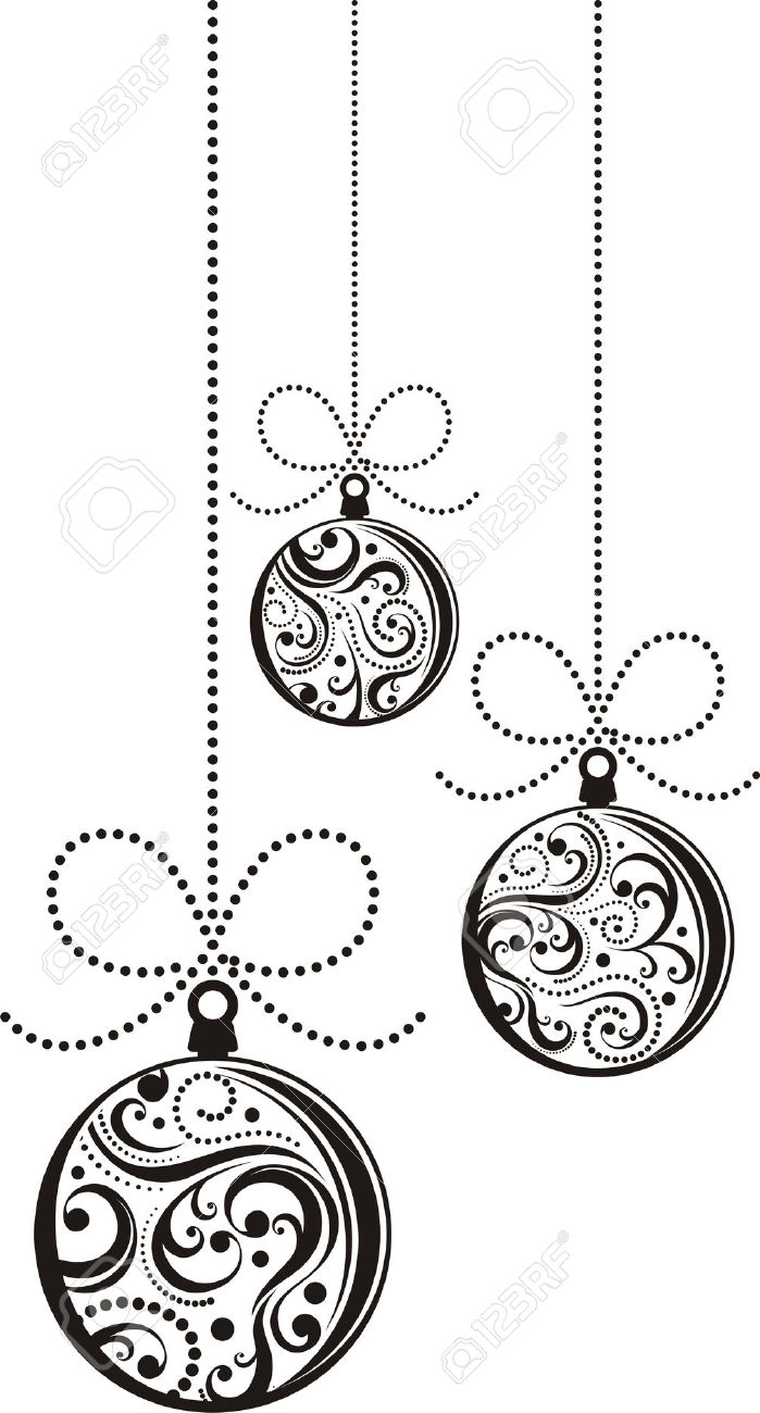 hanging christmas ornament clipart black and white ...   699 x 1300 jpeg 119kB