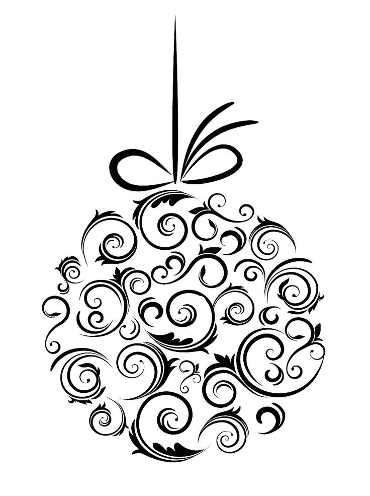 Clipart Fancy Christmas Ornament Black And White Victorian.