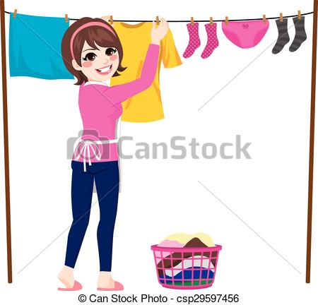 Hanging Laundry Clipart.