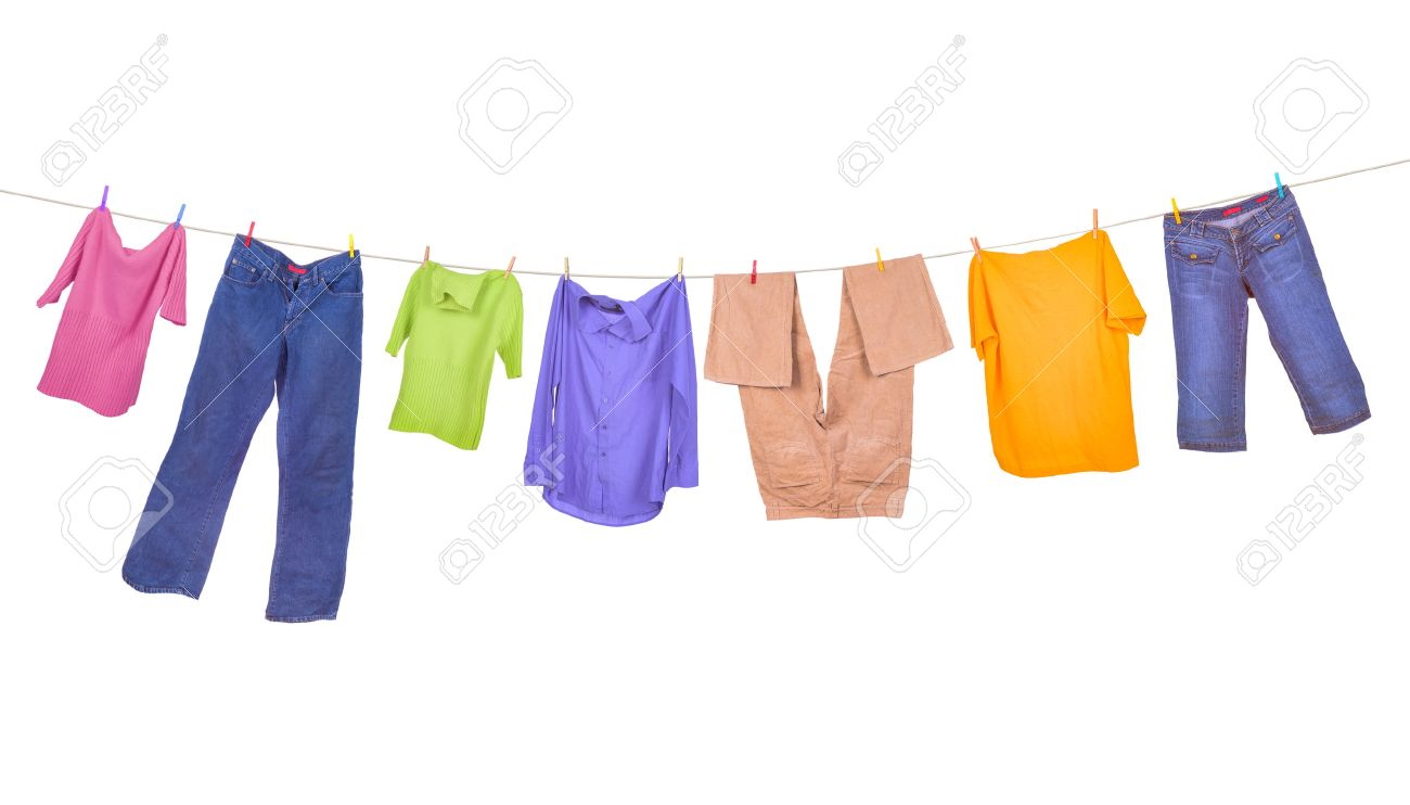 Clothes hanging isolated on white background.
