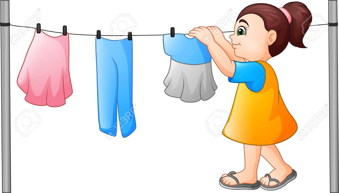 Cartoon little girl hanging clothes.