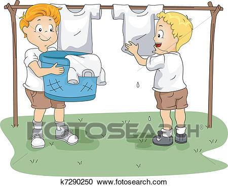 Camp Hanging Clothes Clipart.