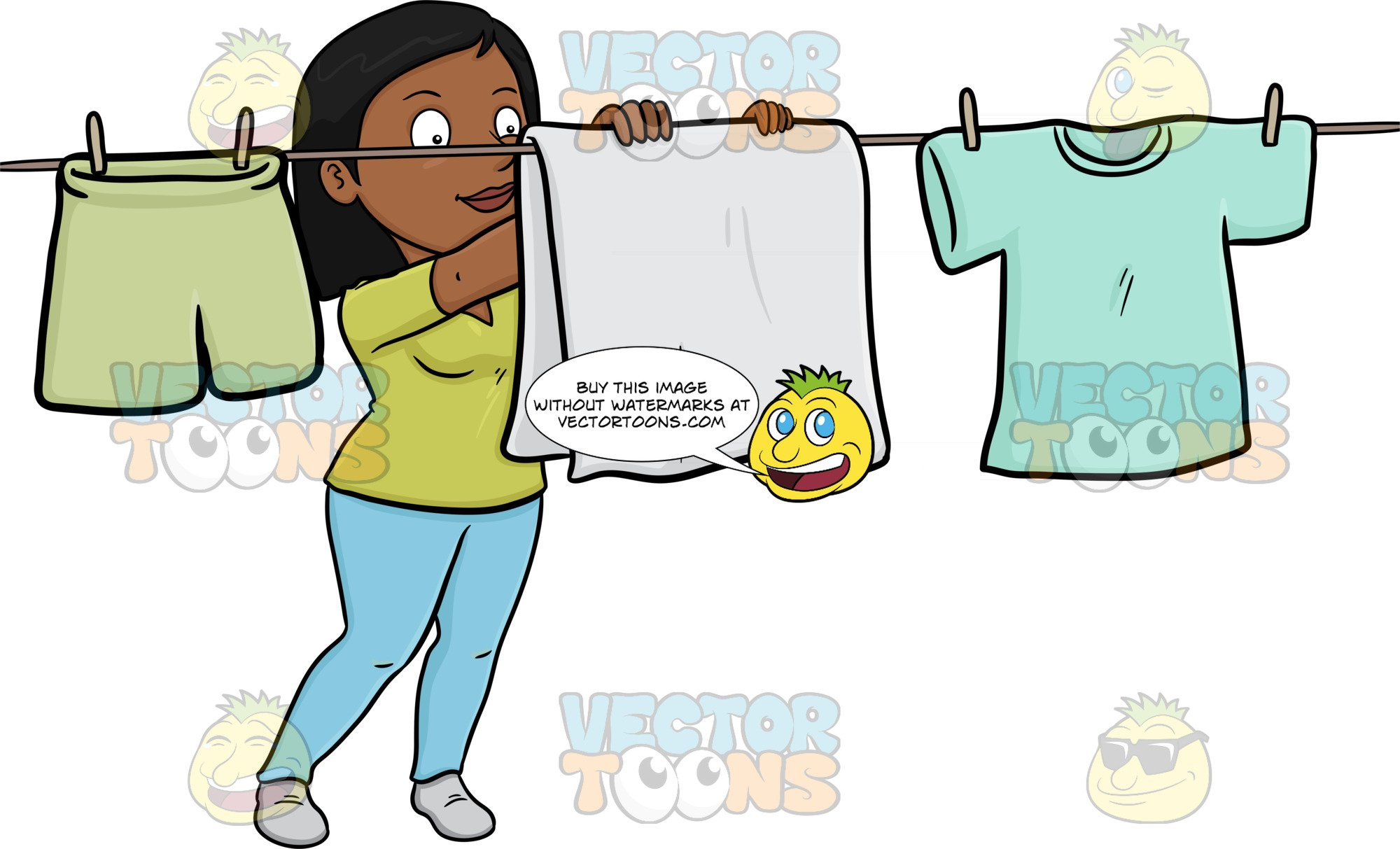 A Cheerful Black Woman Hanging Garments To Dry On A Bright Day.