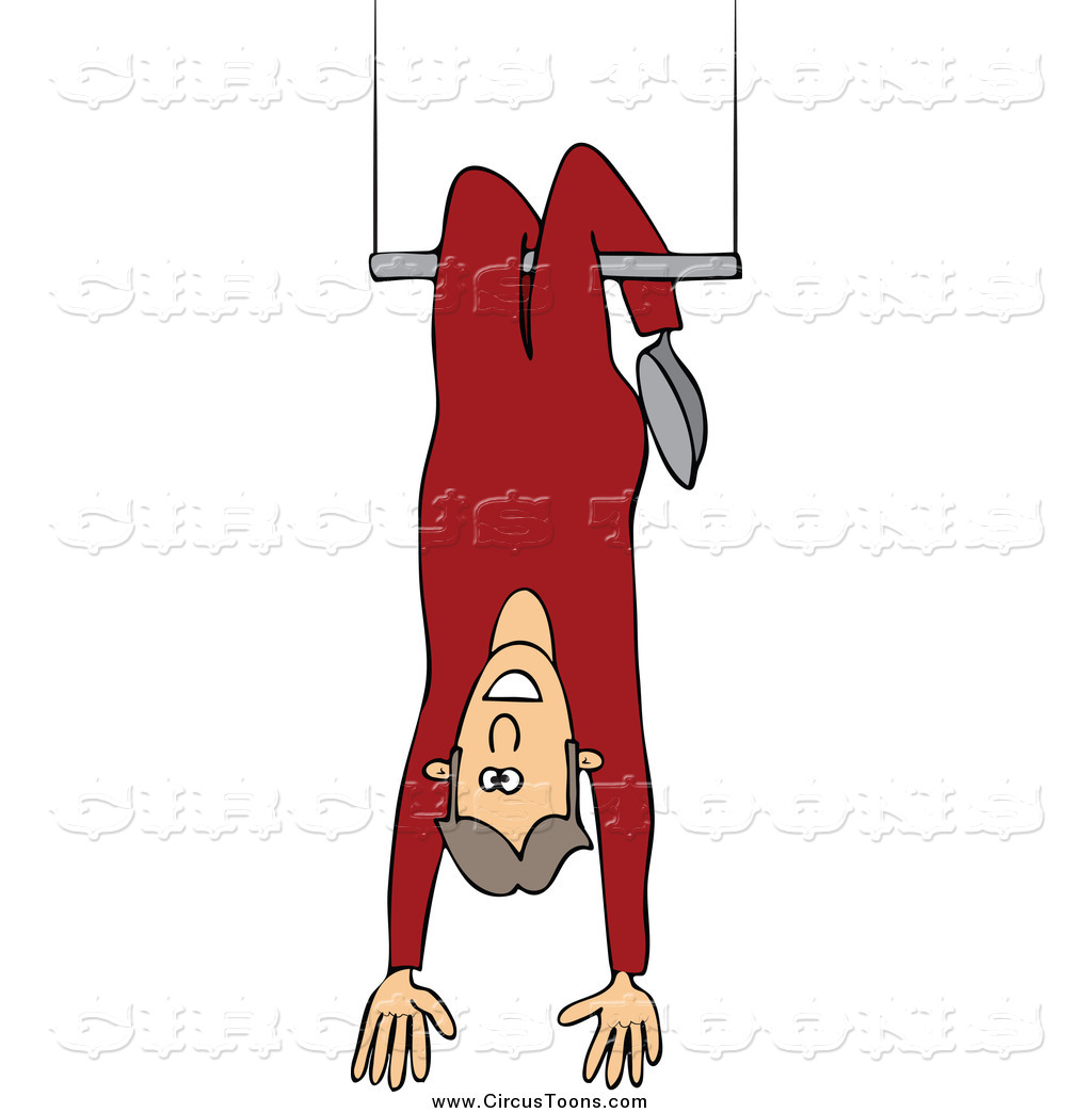 Circus Clipart of a Man Hanging Upside down on a Trapeze by Dennis.
