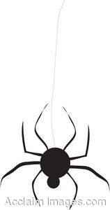 Clip Art Picture of a Black Spider Hanging Down.