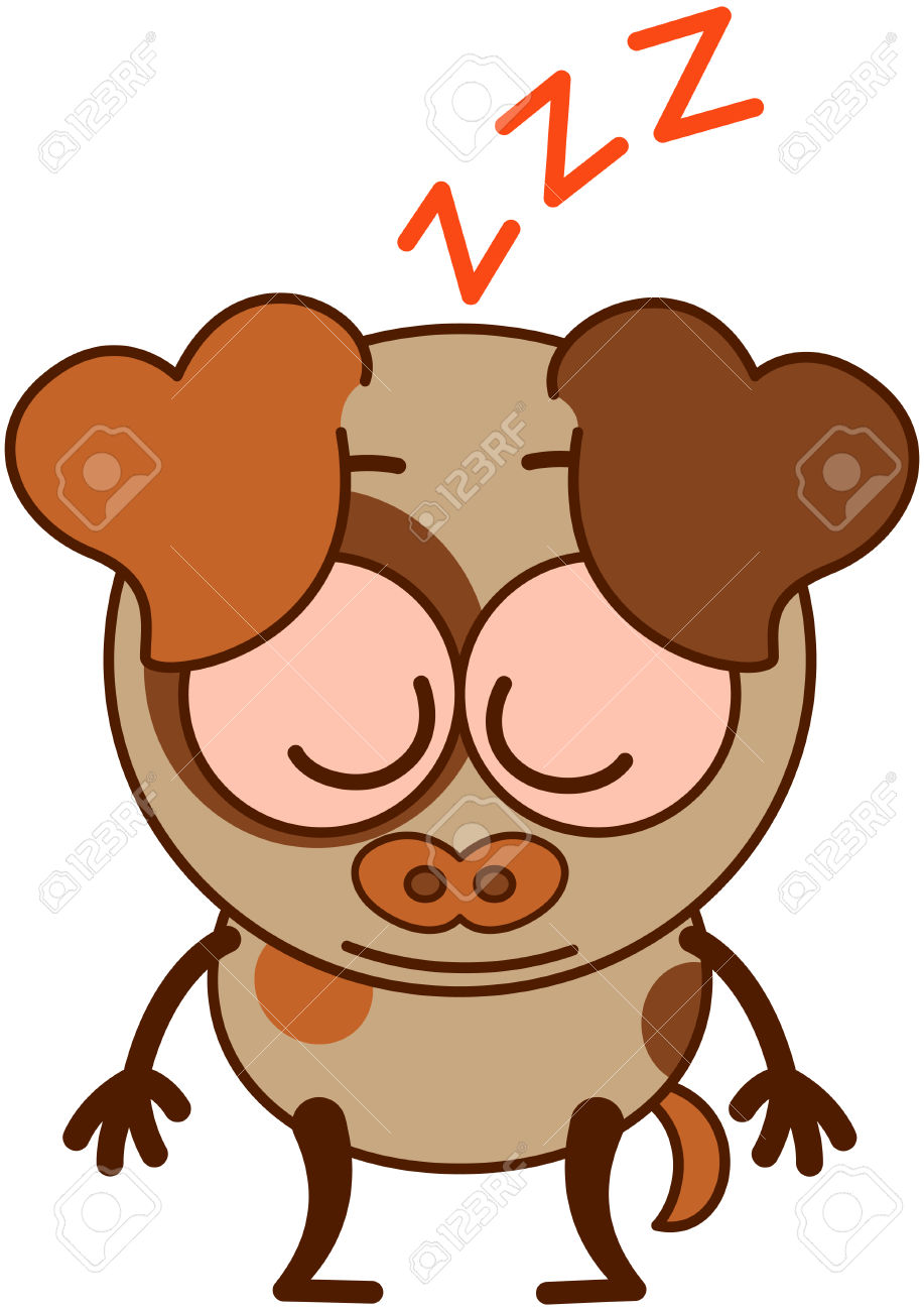 Cute Brown Dog In Minimalistic Style With Big Hanging Ears Bulging.