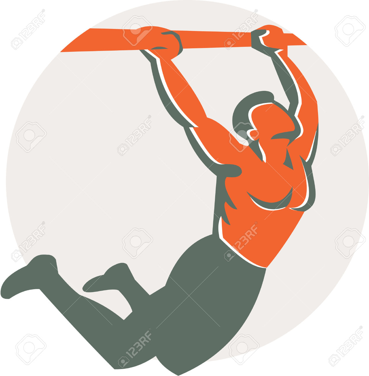 Illustration Of A Crossfit Athlete Body Weight Exercise Pull.