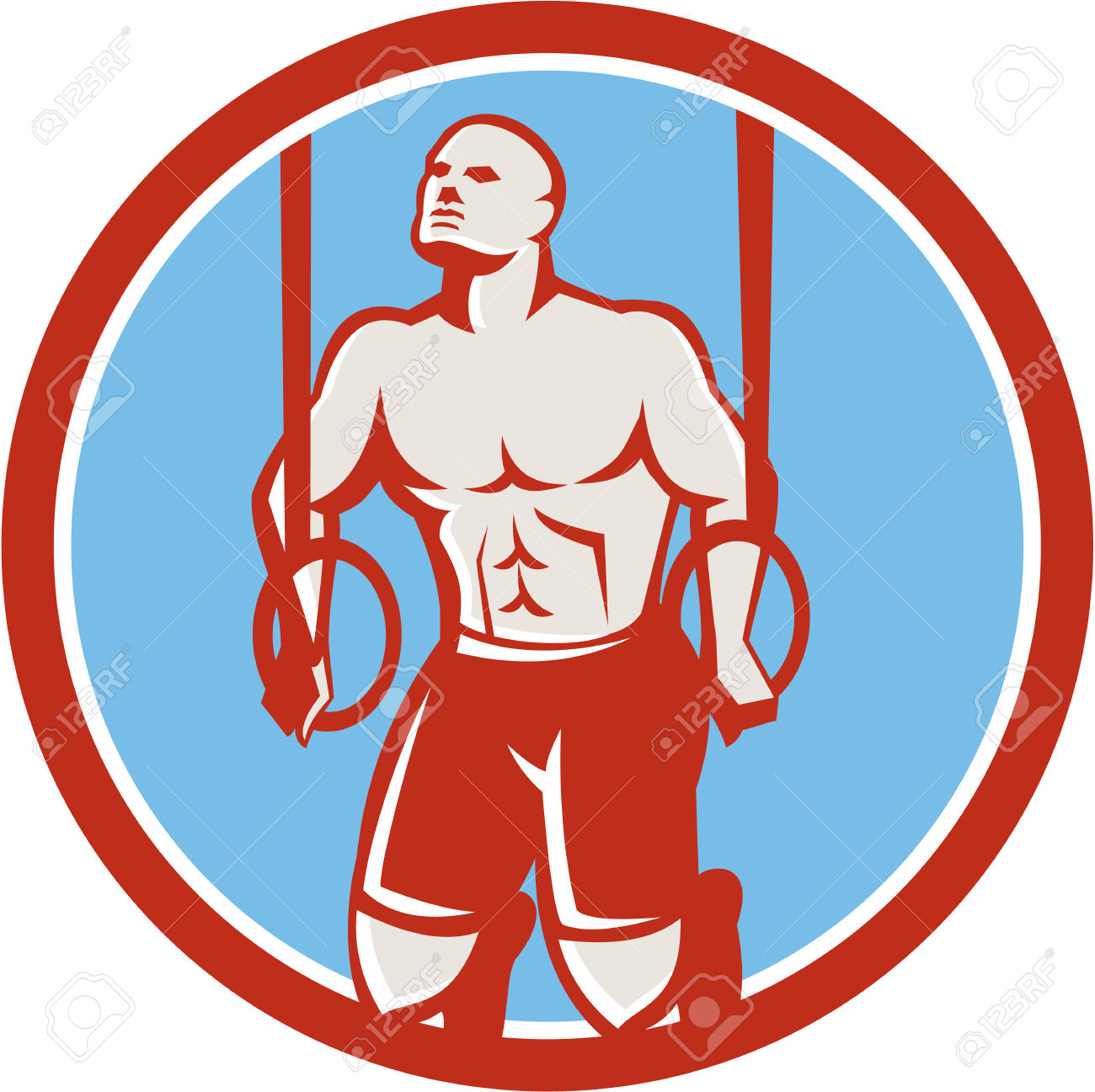 Illustration Of A Crossfit Athlete Body Weight Exercise Hanging.