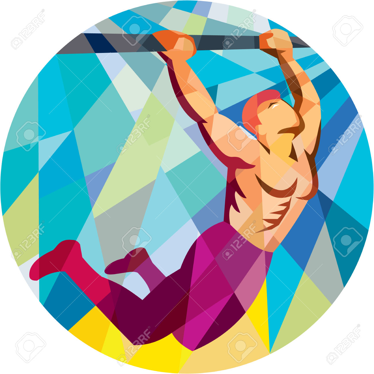 Low Polygon Style Illustration Of A Crossfit Athlete Body Weight.