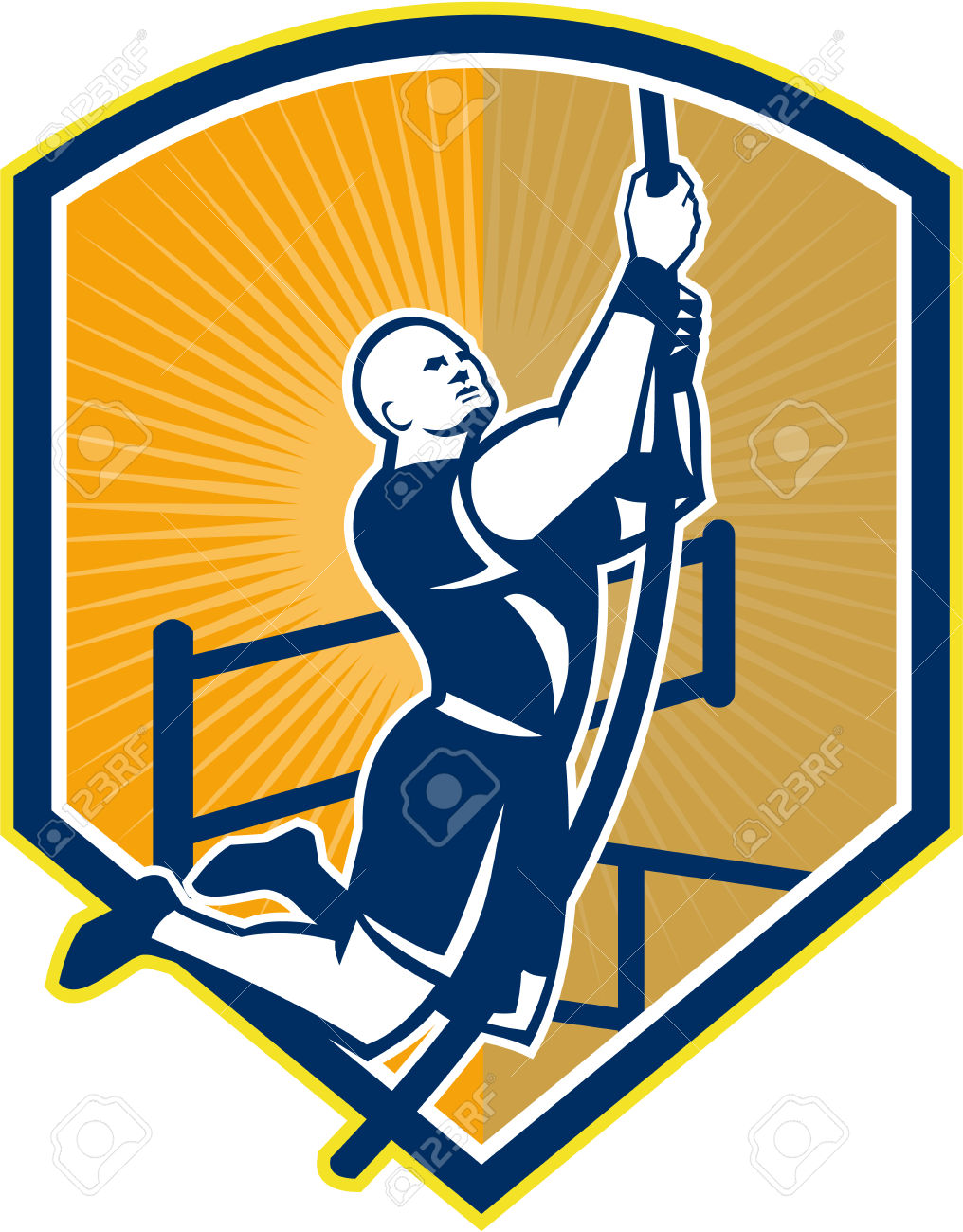 Illustration Of A Crossfit Athlete Body Weight Exercise Rope.