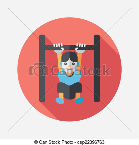 Clip Art Vector of Boy hanging horizontal bar flat icon with long.