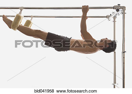 Pictures of Asian man hanging on exercise equipment bld041958.