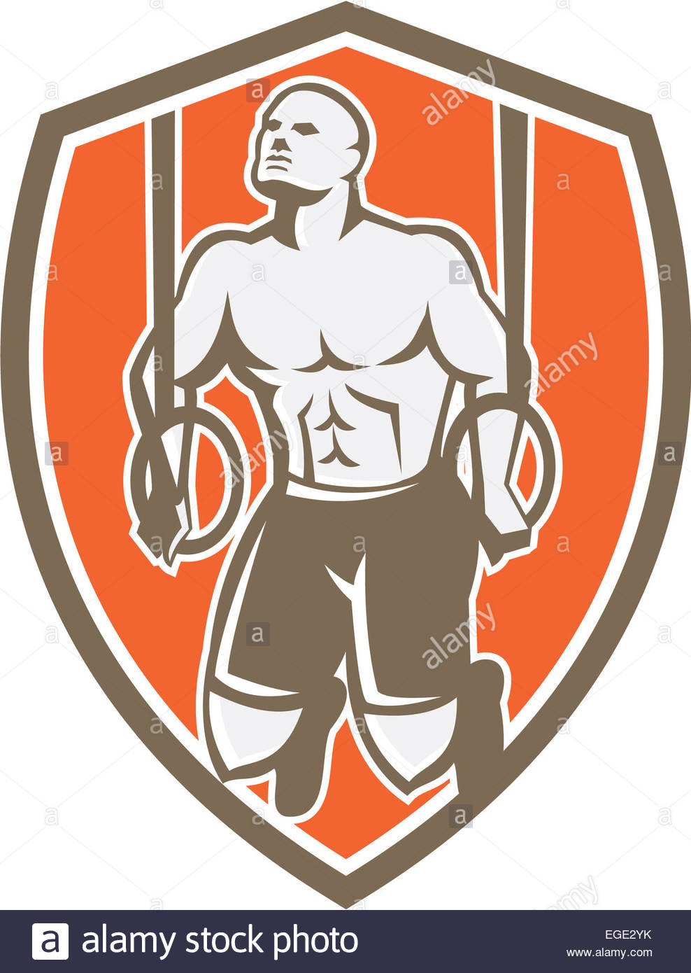 Illustration Of A Crossfit Athlete Body Weight Exercise Hanging On.