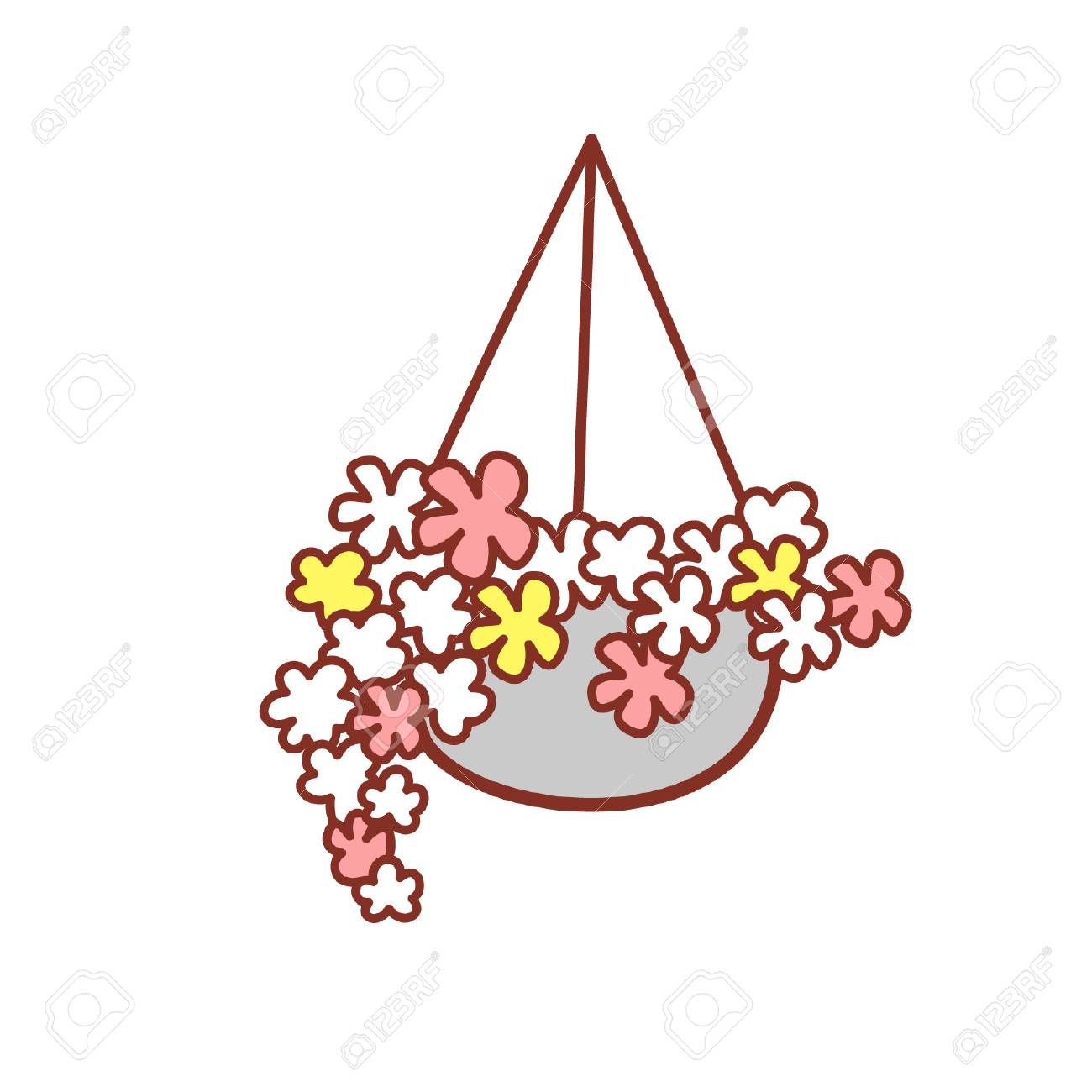 Cartoon hanging basket with flowers.