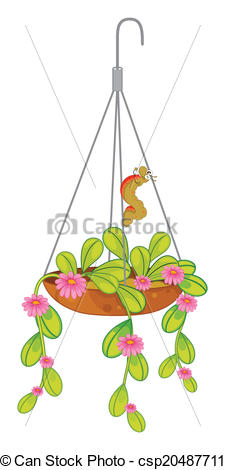 Vector Clip Art of A hanging plant with flowers.