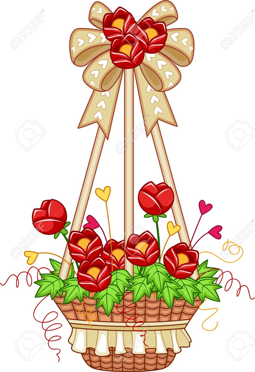 Illustration Of A Hanging Flower Pot Stock Photo, Picture And.