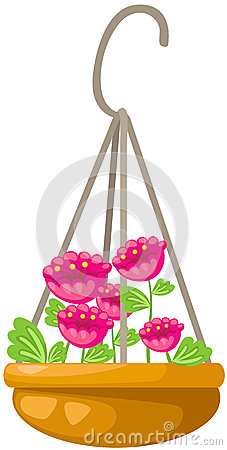 Flower Hanging Pot Stock Illustrations.