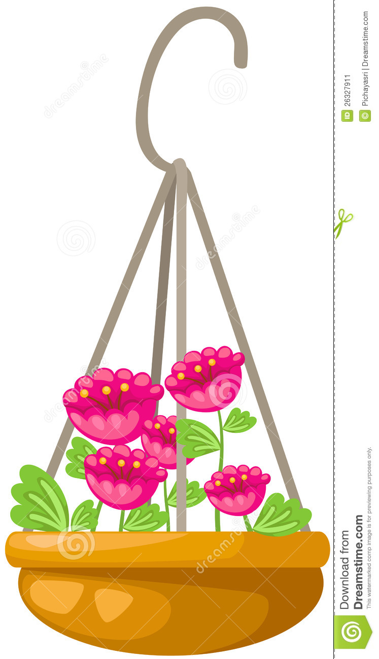 Flower In A Hanging Pot Stock Image.