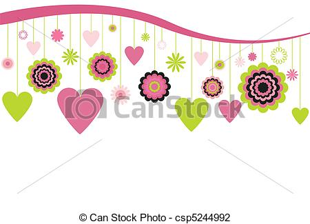 Vector Illustration of Hanging Flowers and Hearts.