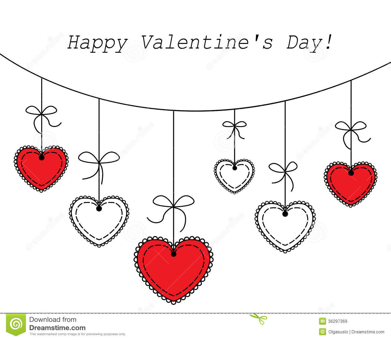 Vector Illustration Heart Hanging Royalty Free Stock Images.
