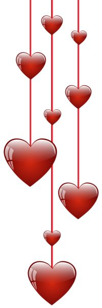 Hanging Hearts Decoration PNG Picture.