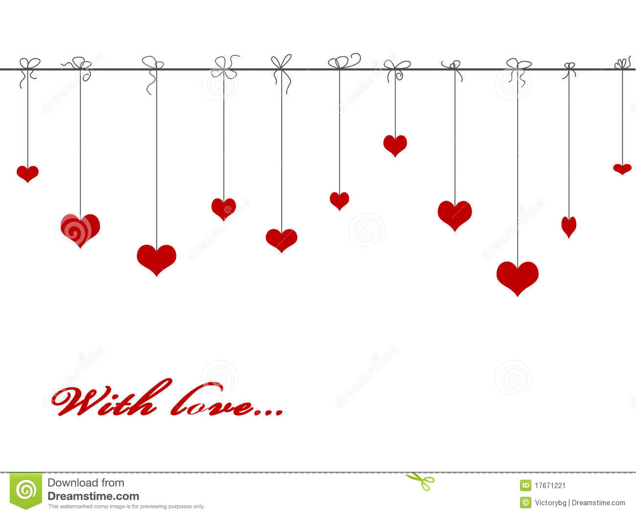 Valentine Card With Hanging Hearts On Black Background Stock.