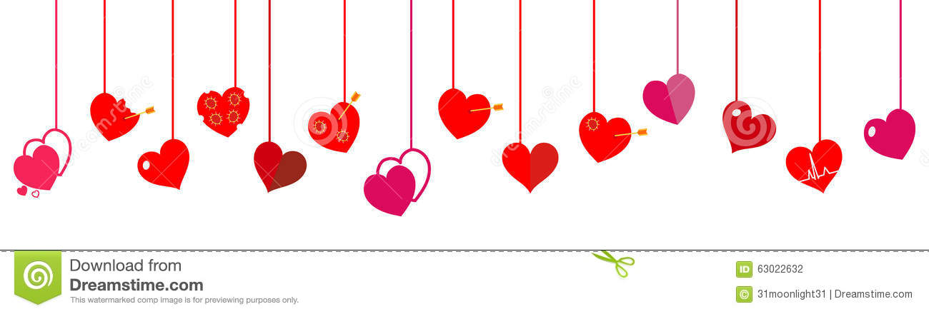 Hanging Hearts. Flat Design Stock Vector.