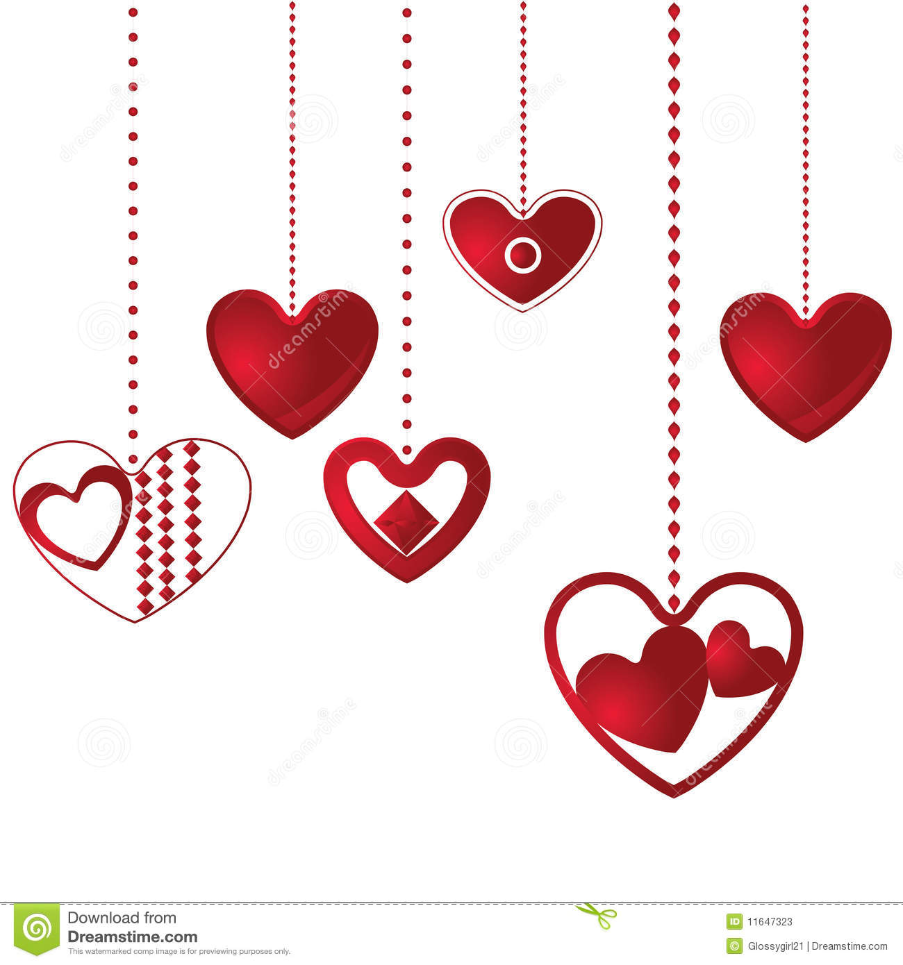 Hanging Hearts Background Stock Photos.