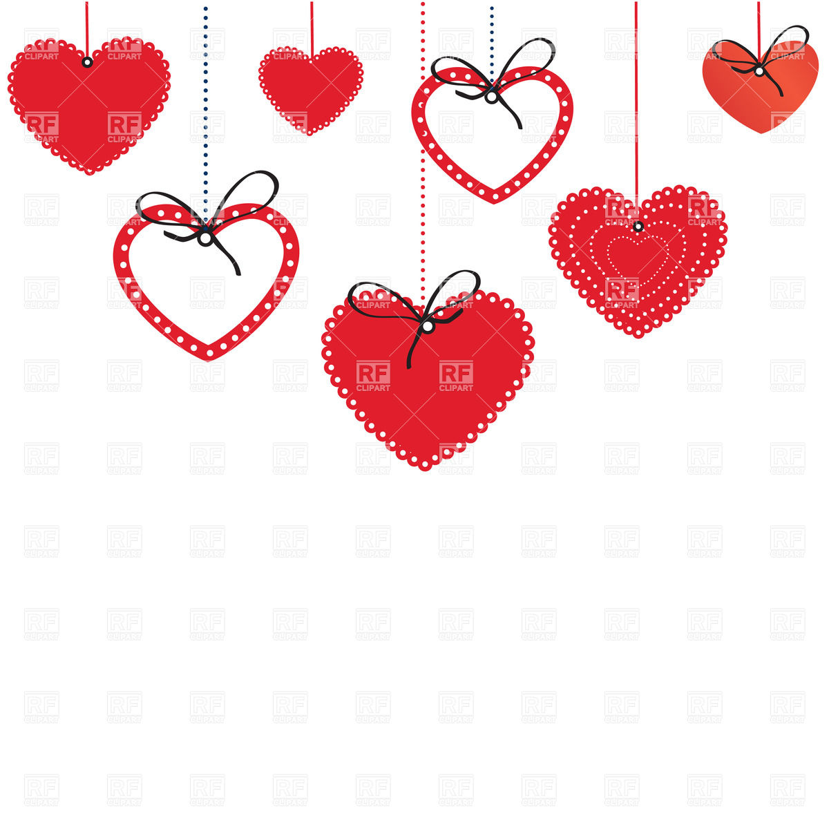 Ornate hearts hanging down and place for text Vector Image #23678.