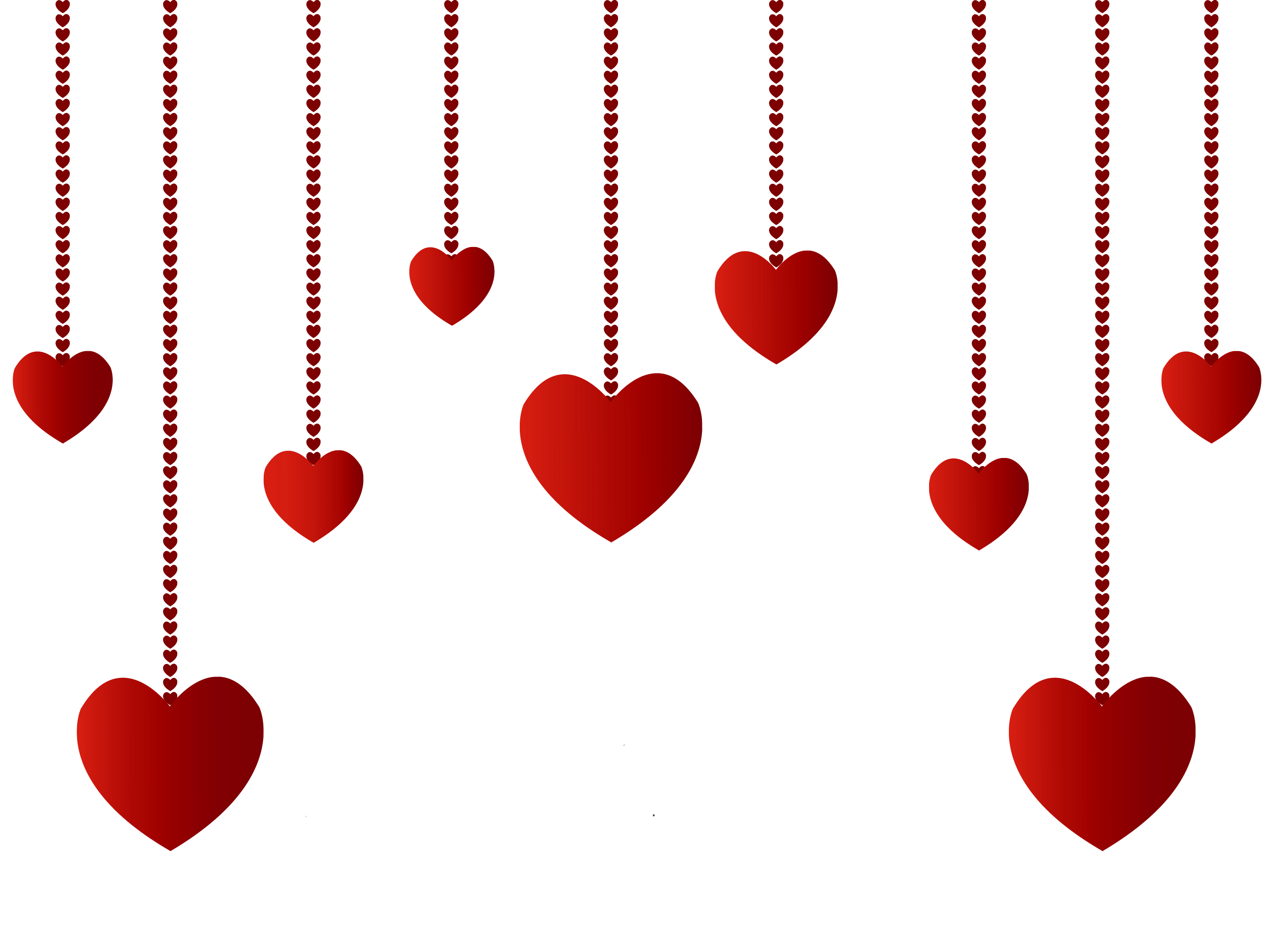 Red Hanging Hearts and Dots Decor PNG Clipart.