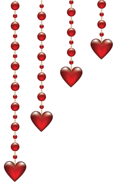 Valentine's Day Hanging Hearts Transparent PNG Clip Art Image.