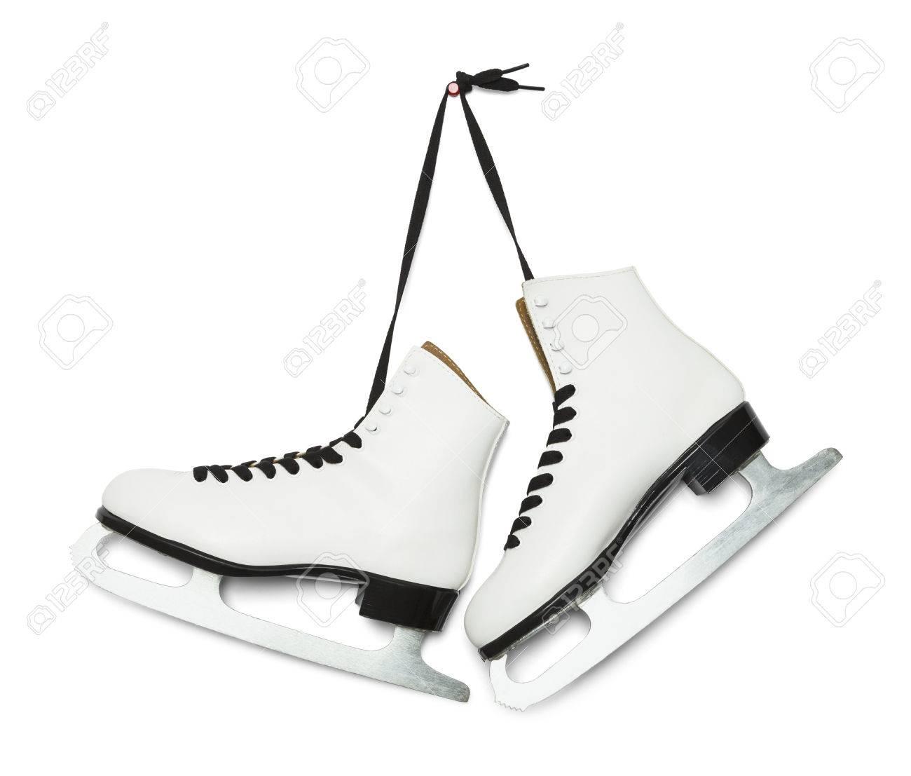 Pair of Figure Ice Skates Hanging Isolated on White Background..