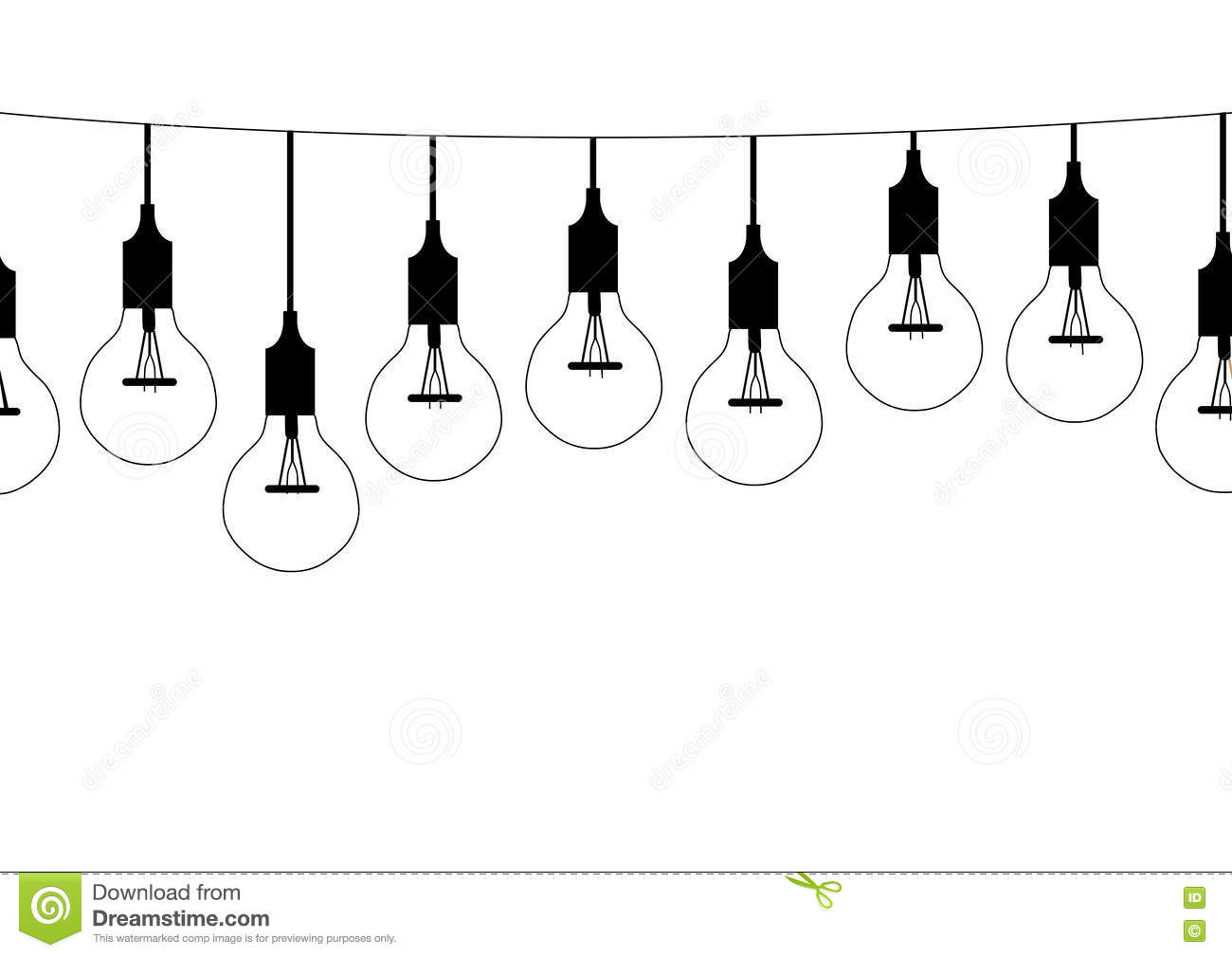 Seamless Pattern Hanging Light Bulbs,Vector Illustrations Stock.