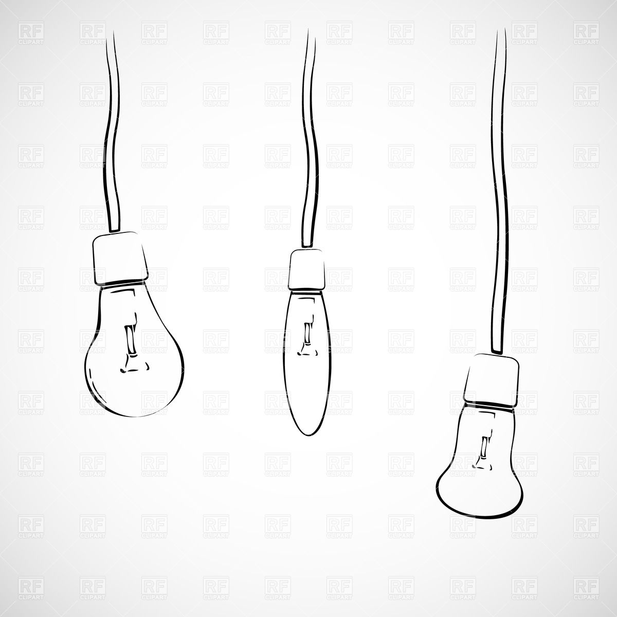 Three hand drawn light bulbs hanging on wires Vector Image #28321.