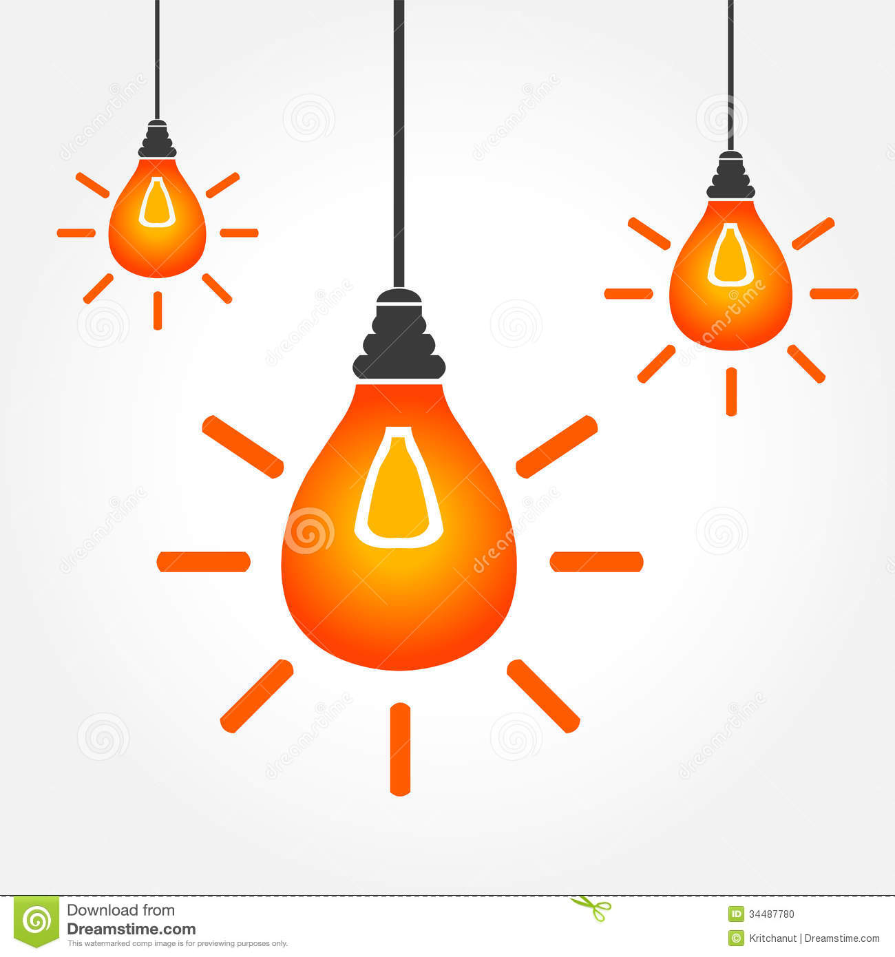 Hanging light bulbs clipart.