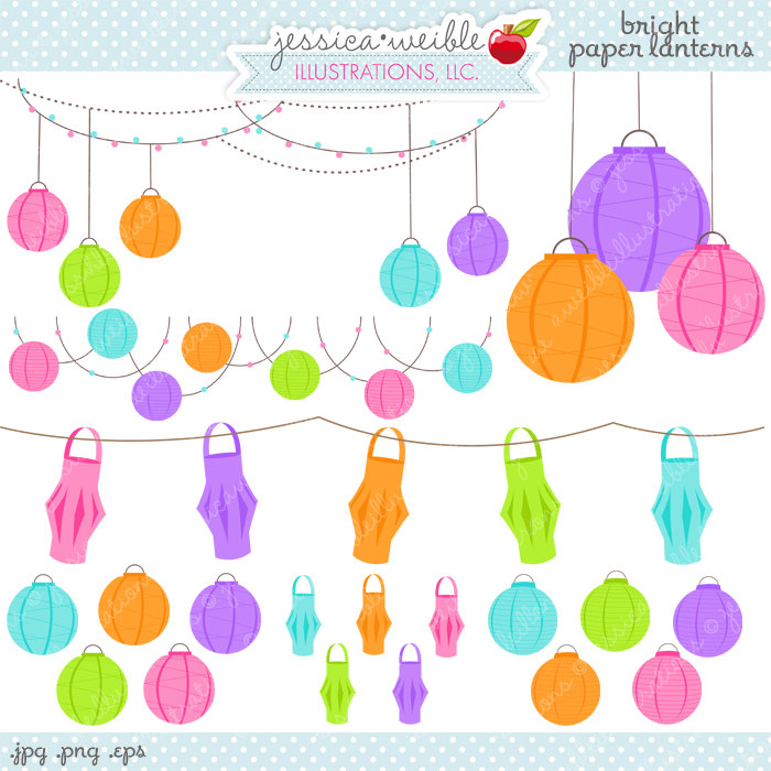 Bright Paper Lanterns Cute Digital Clipart Commercial Use OK.