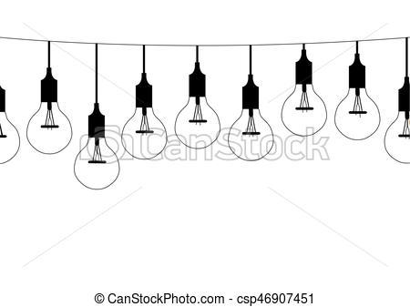 Seamless pattern hanging light bulbs,Vector illustrations.